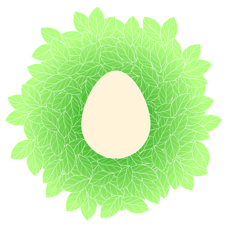 Easter card template with egg in leaves nest
