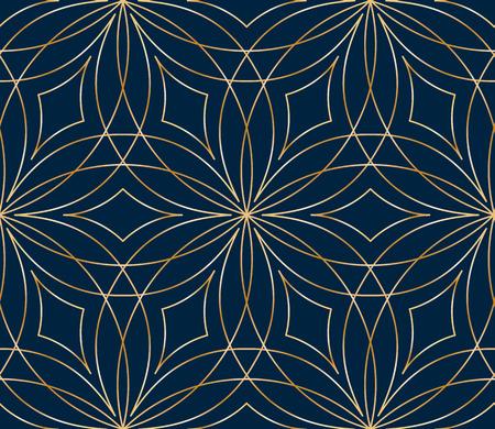 Seamless golden flower pattern on blue background Illusztráció