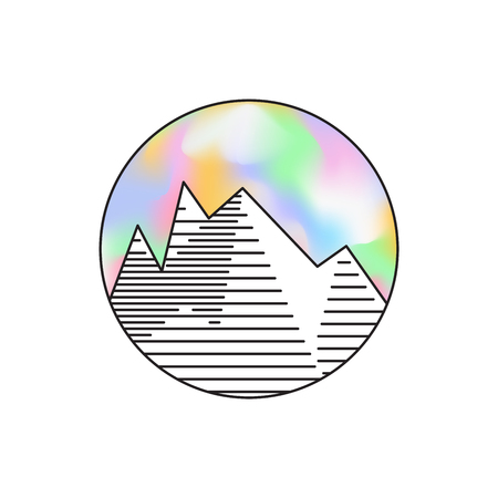 Round emblem with linear mountains and holographic sky