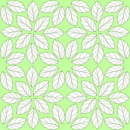 Seamless repeating linear leaves pattern on green background