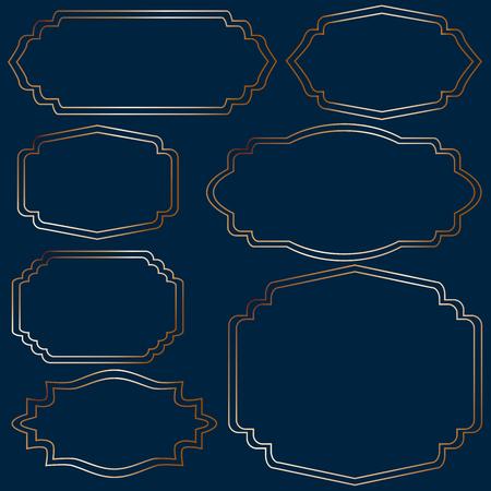 Set of golden vintage frames on blue background Illusztráció