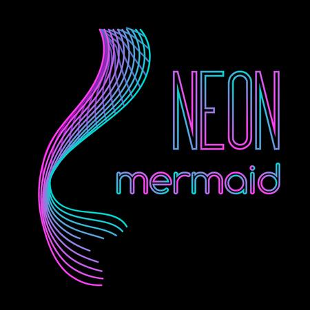 Neon mermaid tail made of parallel lines Illusztráció