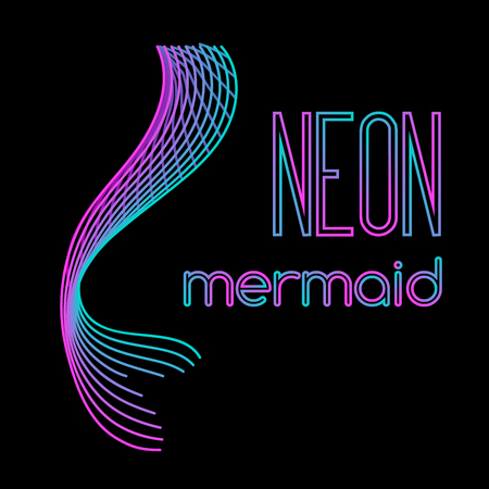 Neon mermaid tail made of parallel lines Illustration