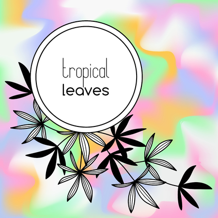 Round copyspace frame with palm leaves on holographic background