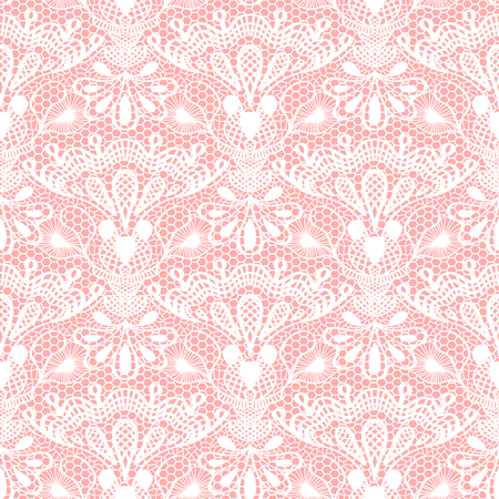 Seamless detailed lace pattern on pink background