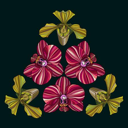 Medieval style flower mandala illustration