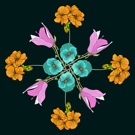 Medieval style flower mandala illustration