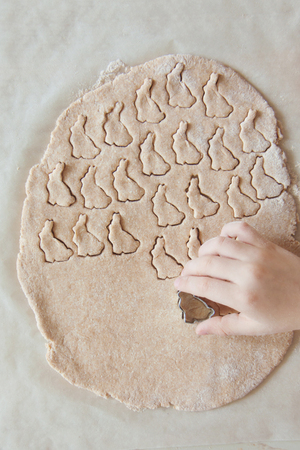 Young child hands is preparing the dough, bake Easter cookies dessert, biscuit in the kitchen. Close up concept of family leasure. Top view, flatlay.