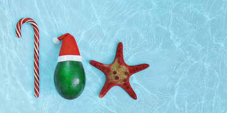 Fresh green avocado in a red hat next to a starfish and sweet candy cane on a bright blue background with water texture. Christmas concept, poster, tourist advertisements. Web banner, copy space
