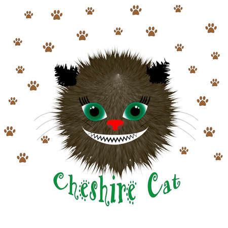 Cheshire cat head, vector illustration on white background