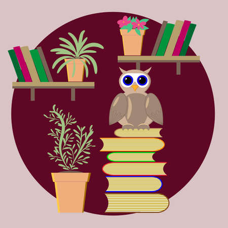 Illustration of an owl sitting on a stack of books against the background of a wall with bookshelves and flowers