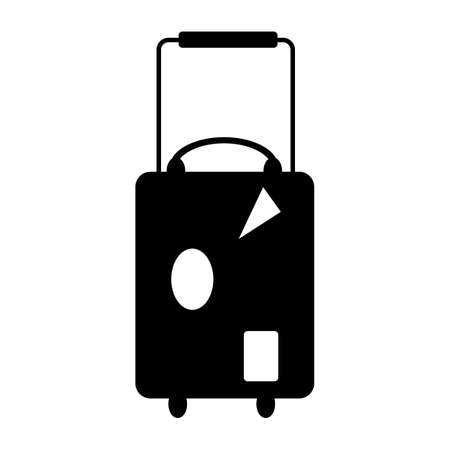 Black suitcase flat icon vector on white background