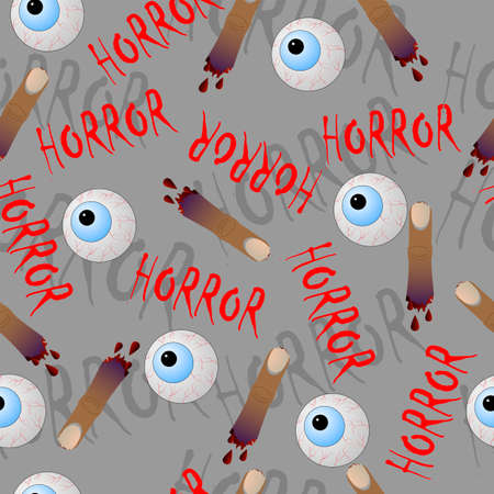 Halloween seamless pattern with fingers and eyes