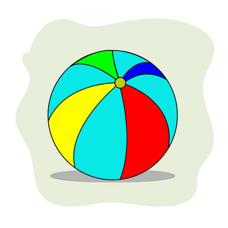 Multi-colored inflatable ball for playing on the beach. Vector illustration.