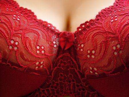 woman in red bra
