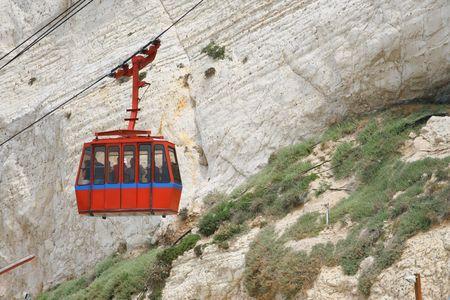 hanikra: Funicular on  Rosh Hanikra , Israel Stock Photo