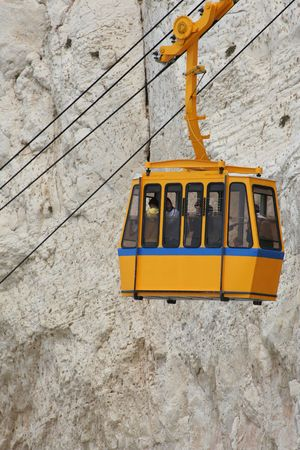 Funicular on  Rosh Hanikra , Israel   Funicular in mountains photo