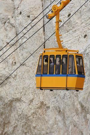hanikra:  Funicular on  Rosh Hanikra , Israel   Funicular in mountains Stock Photo