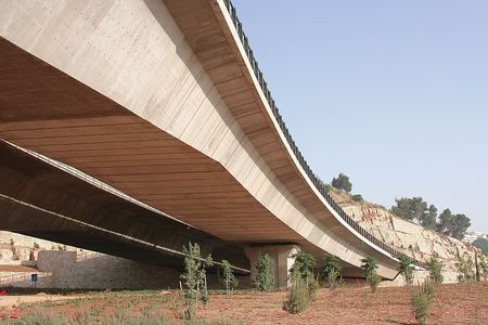 A photo of the under side of a bridge photo
