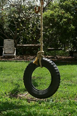 playground ride: Tire swing in the park Stock Photo