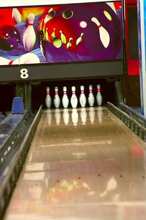 Bowling pins on lane 8 Stock Photo