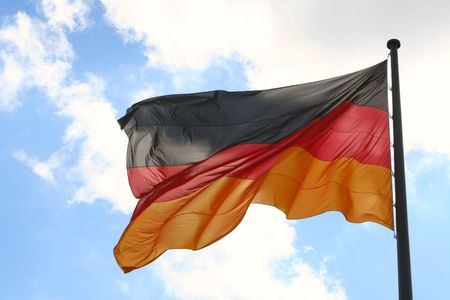 The German flag flying in the wind photo