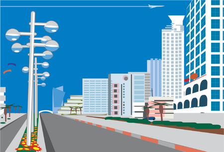 a road leads to a blue  city.  Vector illustration.