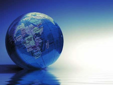 Blue  Globe laying in the water  background Stock Photo