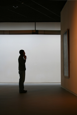 exhibit: a person looks at a painting in a gallery Stock Photo