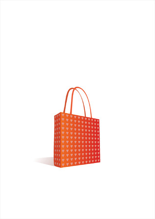 shoping: Vector work of a red shoping bag with small heart pattern.