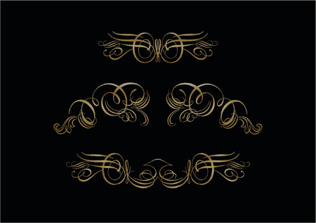 cartouche:  Ornate Scroll Vector   on black Background     Scroll, cartouche, decor, vector         Some truly victorian-style accents. Great uses in almost any design