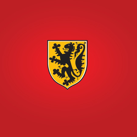 nobel: a heraldic symbol              golden shield with  lion      Great uses in almost any design. Vector illustration.