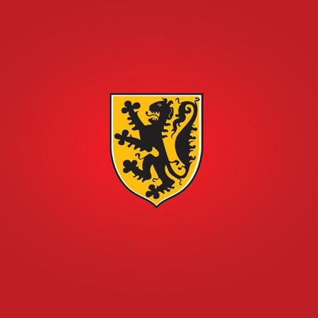 nobel: S�mbolo her�ldico dorado escudo con le�n Gran utiliza en casi cualquier dise�o. Ilustraci�n vectorial.