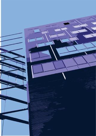 architectural elements: Vector Vector elementos arquitect�nicos Ciudad - edificio de oficinas cerca de Potsdamer Platz, Berl�n, Alemania. Ilustraci�n vectorial.  Vectores