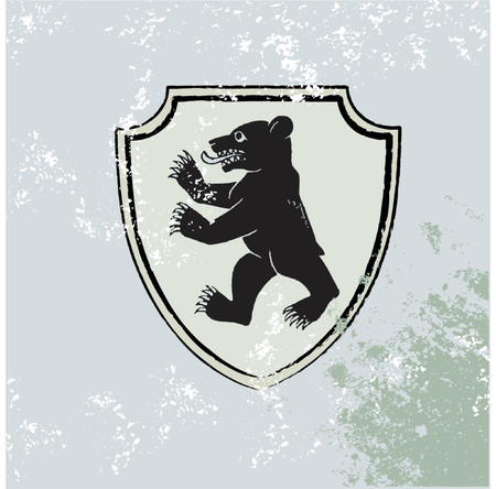 bear silhouette: heraldic  shield with  bear   on the Grunge background. Vector illustration.
