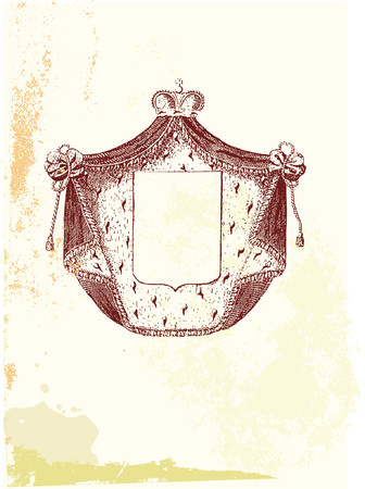 family history: An heraldic shield or badge, blank so you can add your own images. Grunge background. Vector illustration.