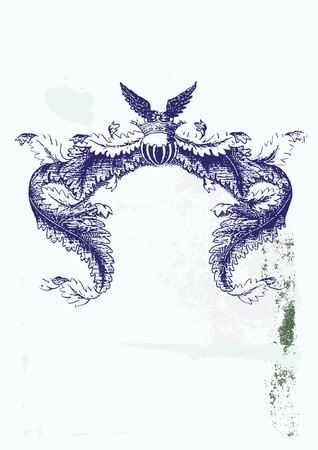 Een heraldische titels frame, blanco zodat u uw eigen afbeeldingen kunt toevoegen. Grunge achtergrond. Vector illustratie.