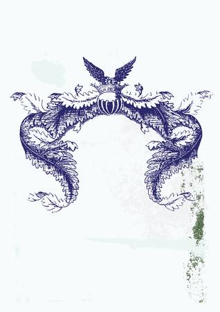 tu puedes: Un marco her�ldico de titulaci�n, en blanco para que usted pueda a�adir sus propias im�genes. Grunge antecedentes. Ilustraci�n vectorial.