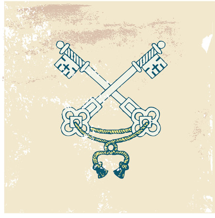 two very old  heraldic  keys on the Grunge background. Vector illustration. Vector