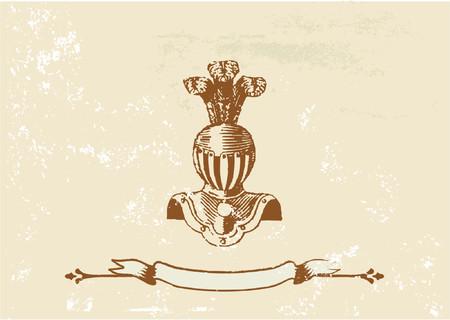 Ancient knight Helmet on the Grunge background. Vector illustration.