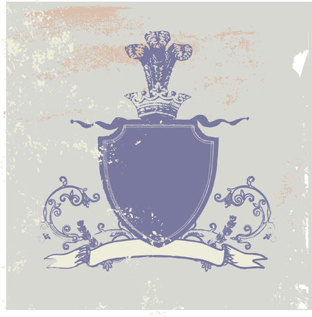 An heraldic shield or badge, blank so you can add your own images. Grunge background . Vector illustration.