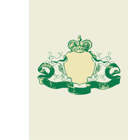 An heraldic shield or badge, blank so you can add your own images. Vector illustration. Vector