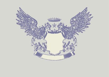 tan: Un protector o una divisa heraldic, en blanco usted puede agregar tan sus propias im�genes. Ilustraci�n del vector. Vectores