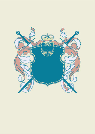 An heraldic shield or badge, blank so you can add your own images  . Vector illustration. Vector