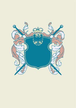 Een heraldische schild of badge, blanco, zodat u kunt uw eigen afbeeldingen. Vector illustratie.