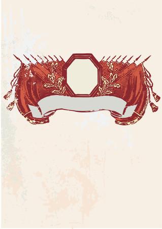 batallon: Banner con un marco de color rojo y las banderas en el fondo grunge. Ilustraci�n vectorial.