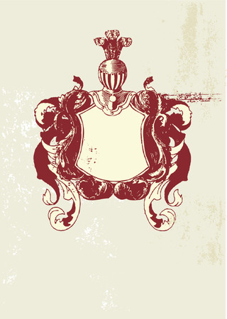 so: An heraldic shield or scroll , blank so you can add your own images  . Vector illustration.
