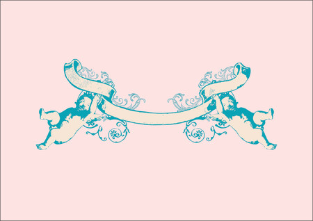 Banner with two herubs. Can by used as wedding invitation, love letter, valentines day postcard Vector