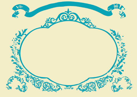 Frame with banner and floral elements around . Vector illustration. Illustration