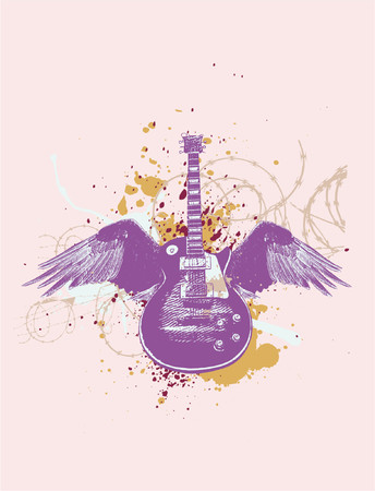 acoustics: Flying  guitar with wings and grunge background